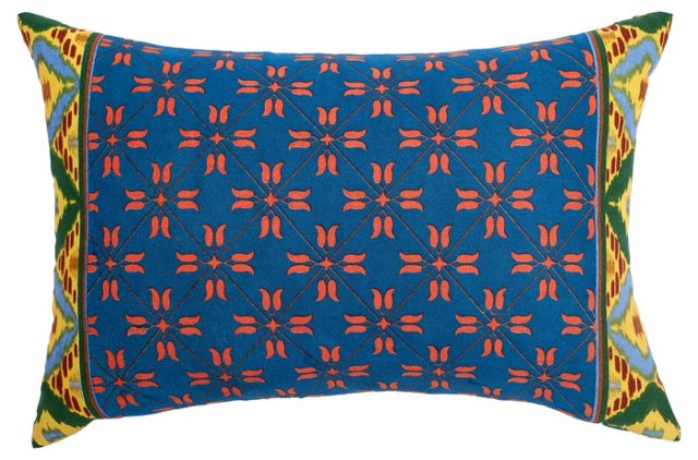 Reversible 12x18 Cotton Pillow, Blue