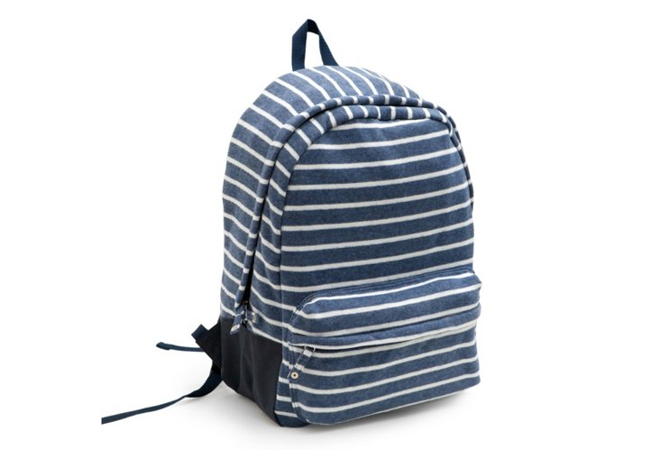 Striped Fleece Backpack, Navy