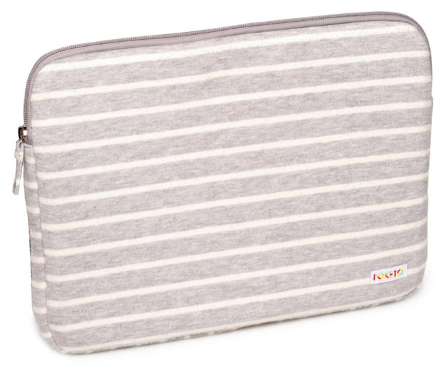 "13"" Striped Fleece Laptop Case, Dove"