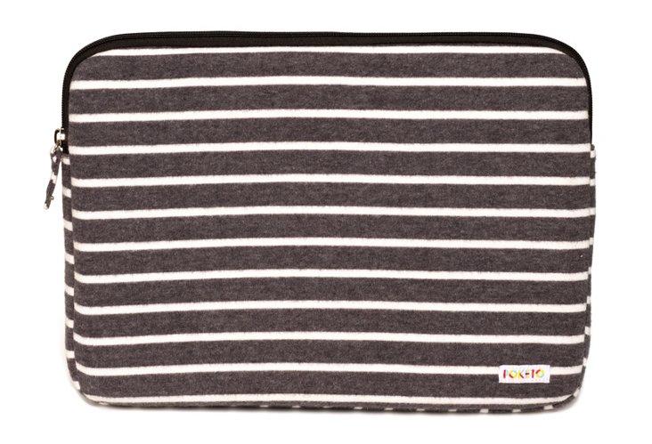 "15"" Striped Fleece Laptop Case, Charcoal"