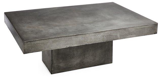 """Eva 48"""" Concrete Coffee Table, Silver"""