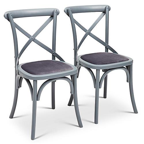 S/2 Nimes Side Chairs, Gray Velvet