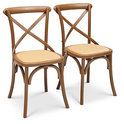 S/2 Nimes Side Chairs, Yellow Velvet