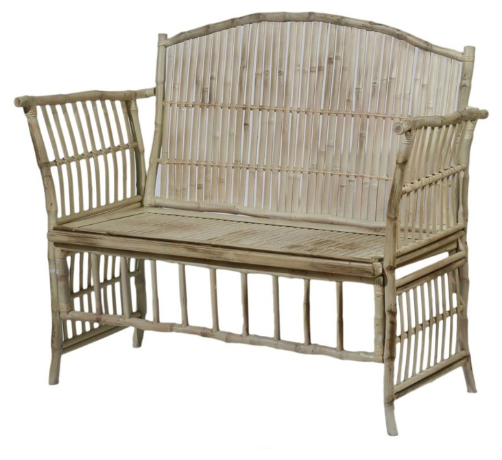 Emmeline Bench, Antiqued White