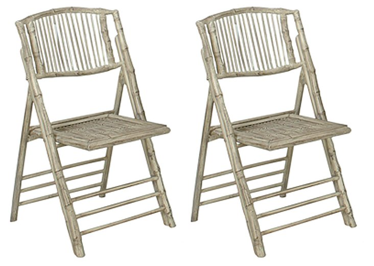 Antiqued Anneliese Folding Chairs, Pair