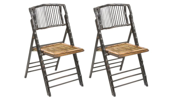 Black Anneliese Folding Chairs, Pair