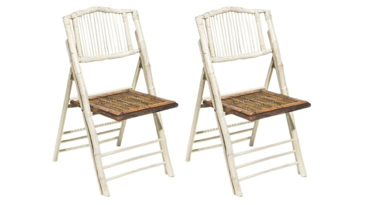 White Anneliese Folding Chairs, Pair