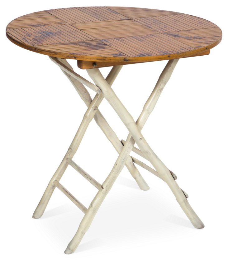 Anneliese Folding Table, White/Tortoise