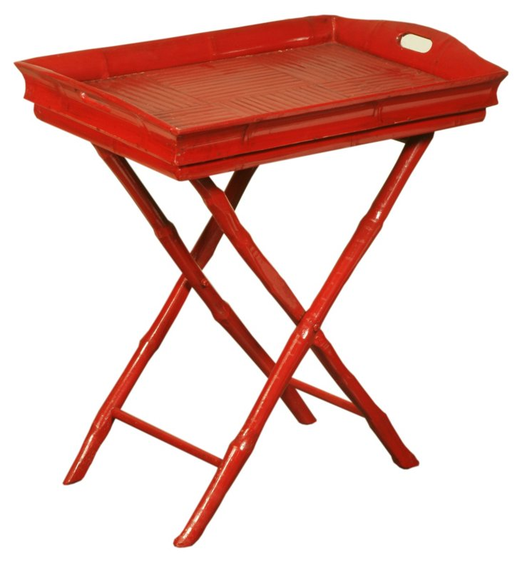 Butler Tray Side Table, Red