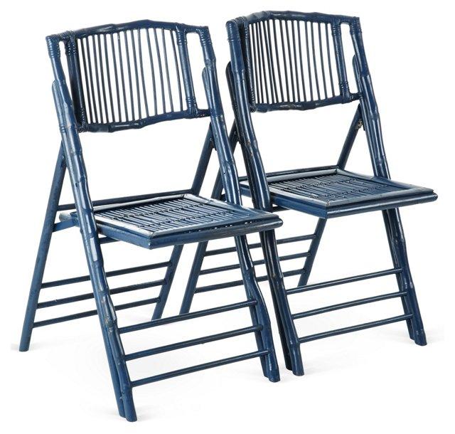 Blue Anneliese Folding Chairs, Pair