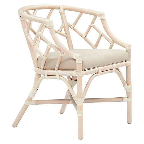 Chippel Rattan Club Chair, Ivory