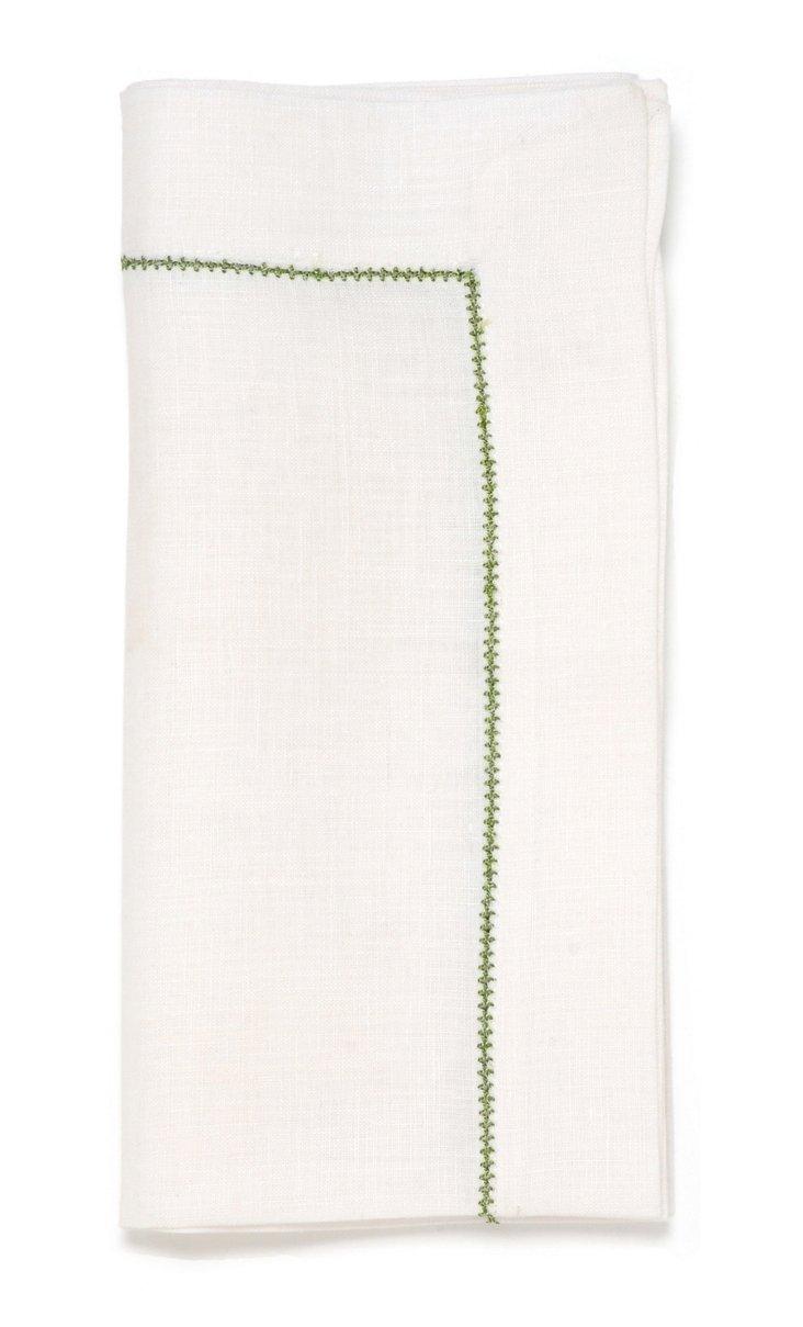S/4 Hemstitch Napkins, White/Lime