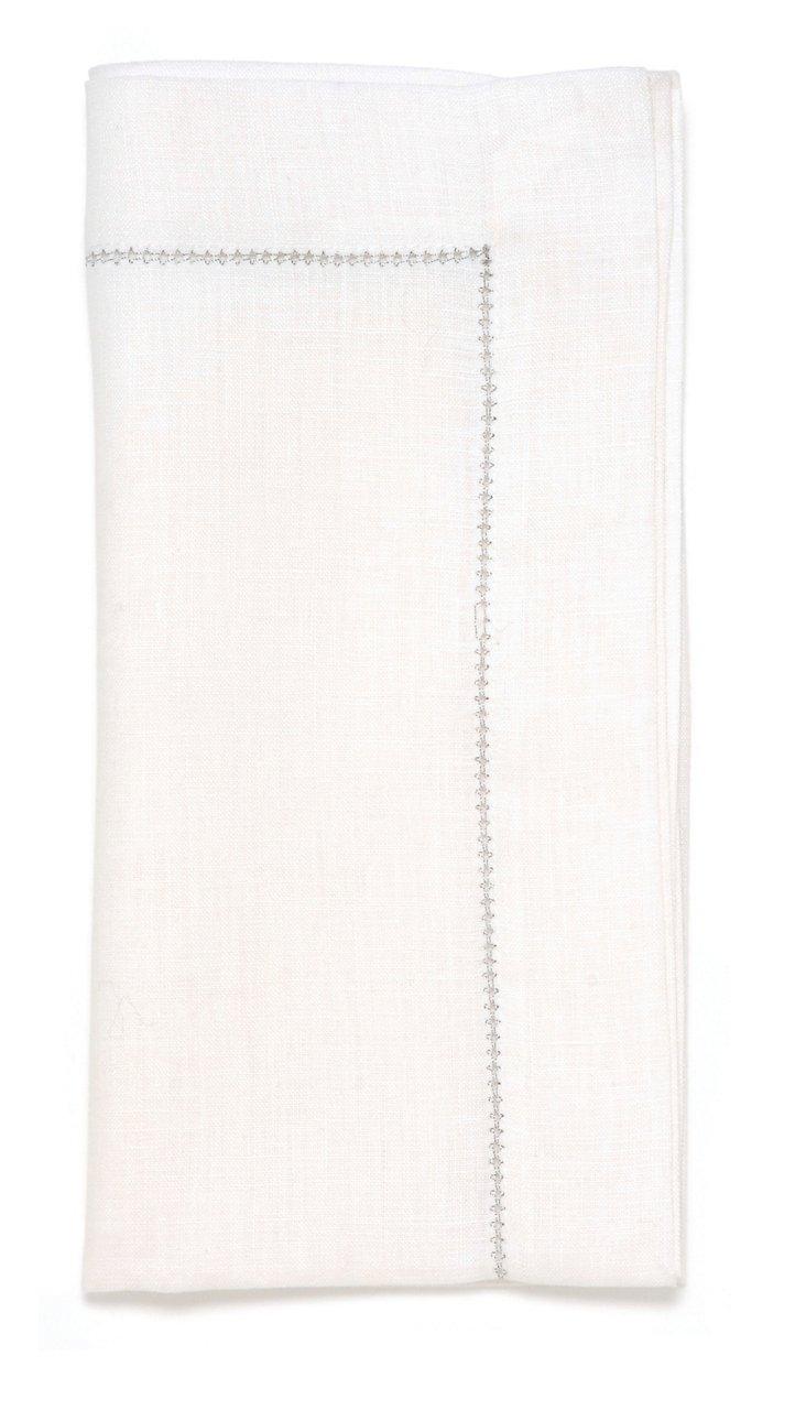 S/4 Hemstitch Napkins, White/Silver