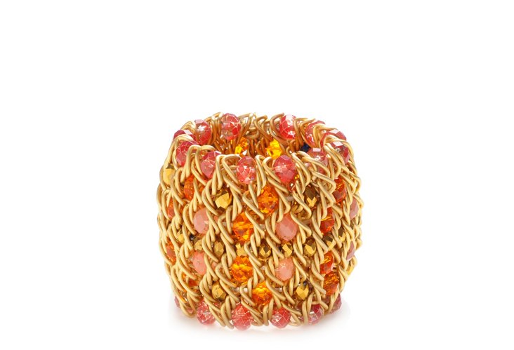 S/4 Chainmail Napkin Rings, Gold/Coral