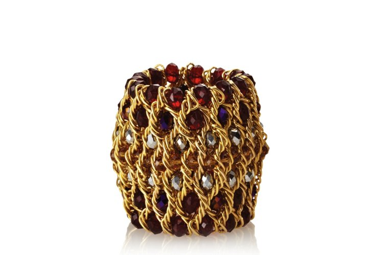S/4 Chainmail Napkin Rings, Gold/Plum