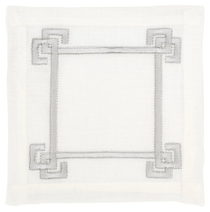S/6 Greek Key Cocktail Napkins, Gray