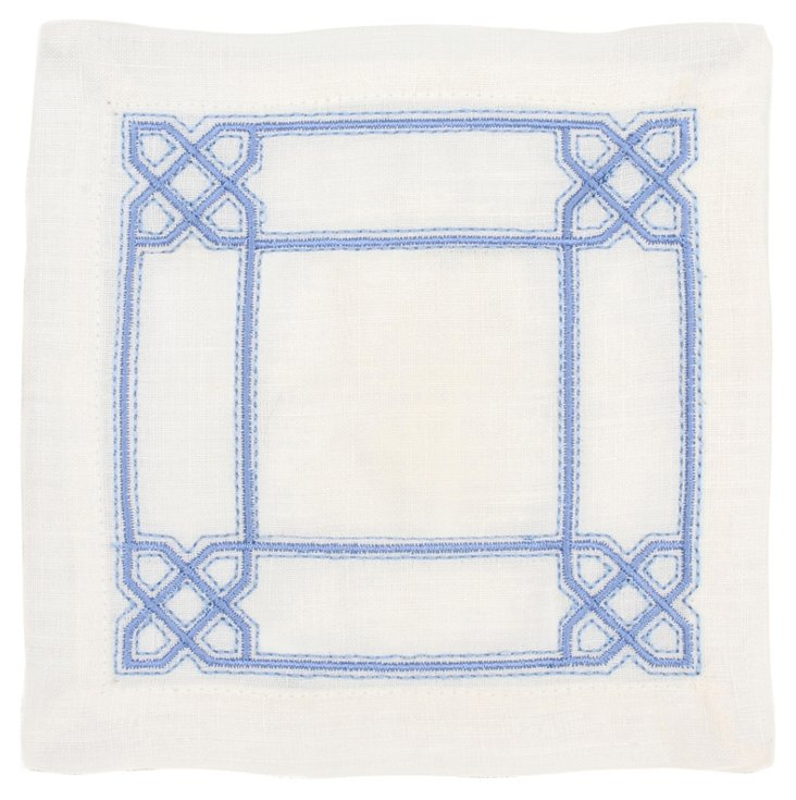 S/6 Lattice Cocktail Napkins, Periwinkle