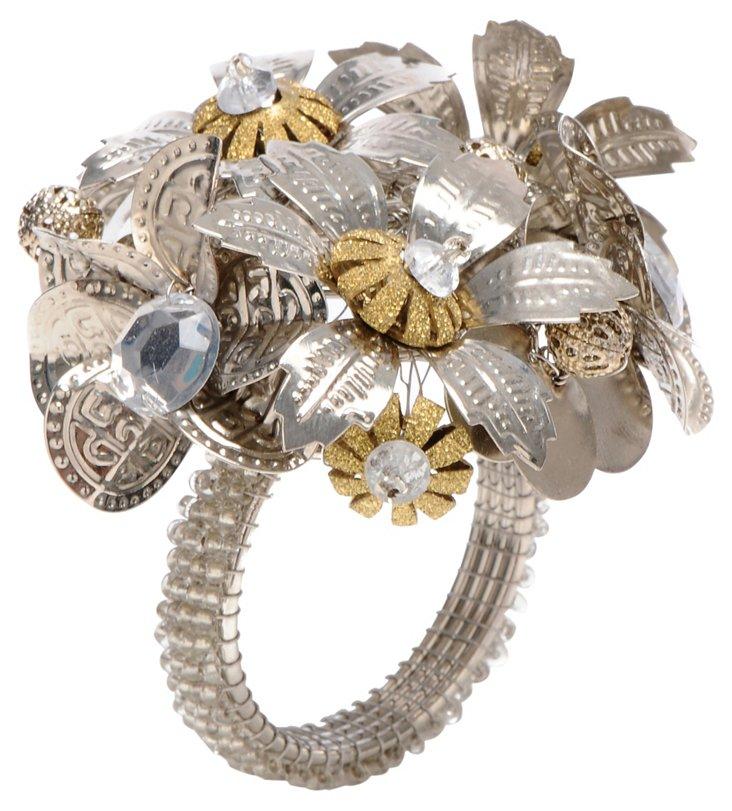 S/4 Antiqued Flower Napkin Rings, Silver