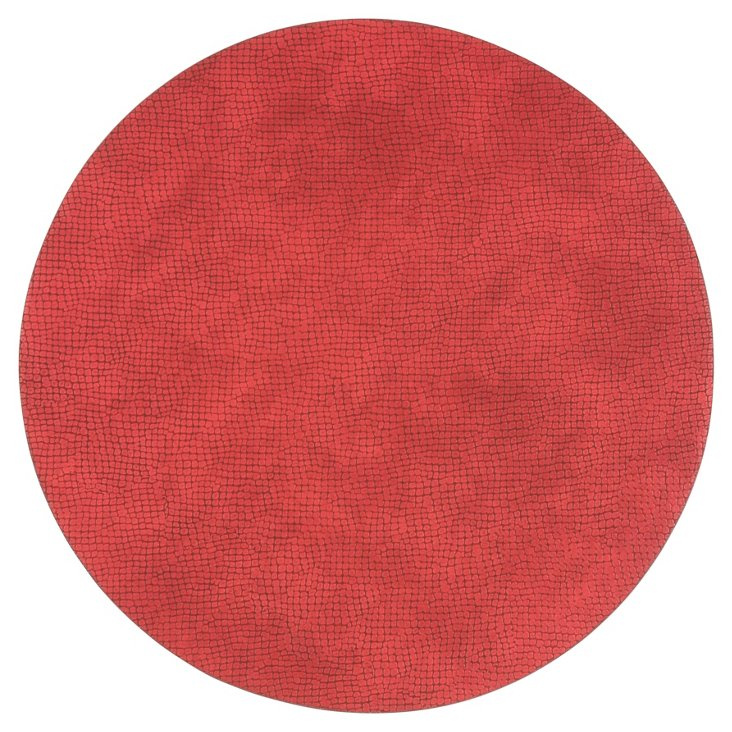 S/4 Cobblestone Place Mats, Red