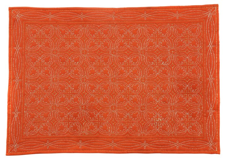 S/4 Quilted Medallion Place Mats, Orange