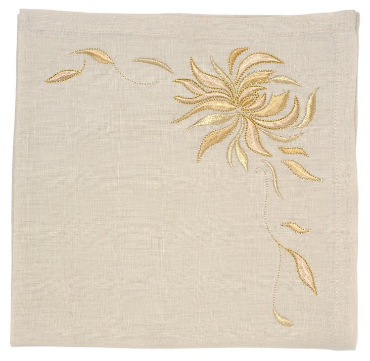 S/4 Chrysanthemum Napkins, Ecru