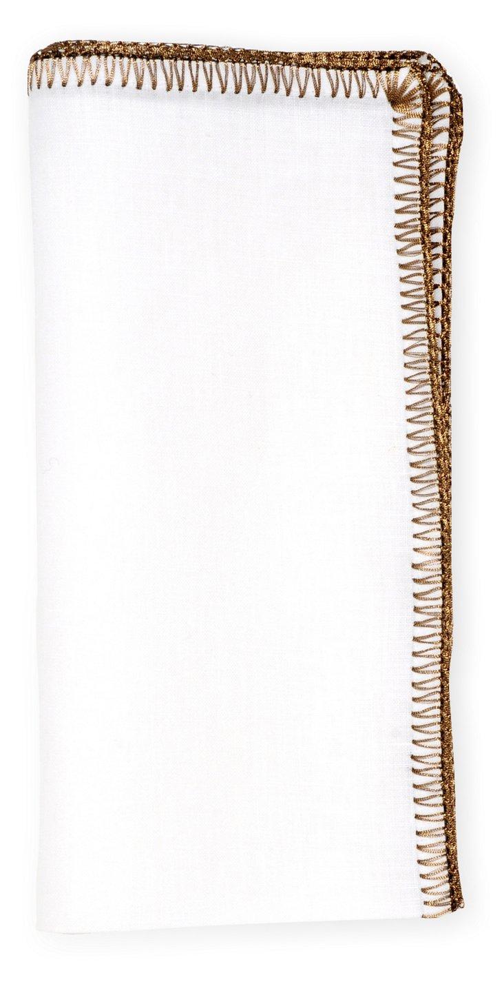 S/4 Crochet Edge Napkins, Bronze