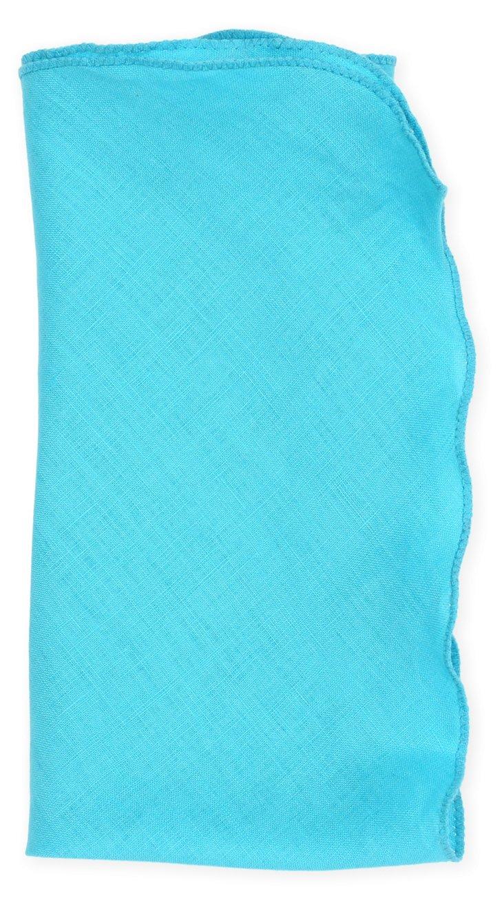 S/4 Bias Linen Napkins, Turquoise