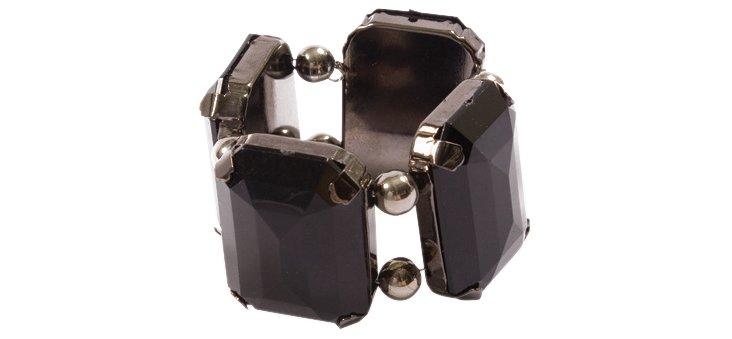 S/4 Gem Napkin Rings, Black