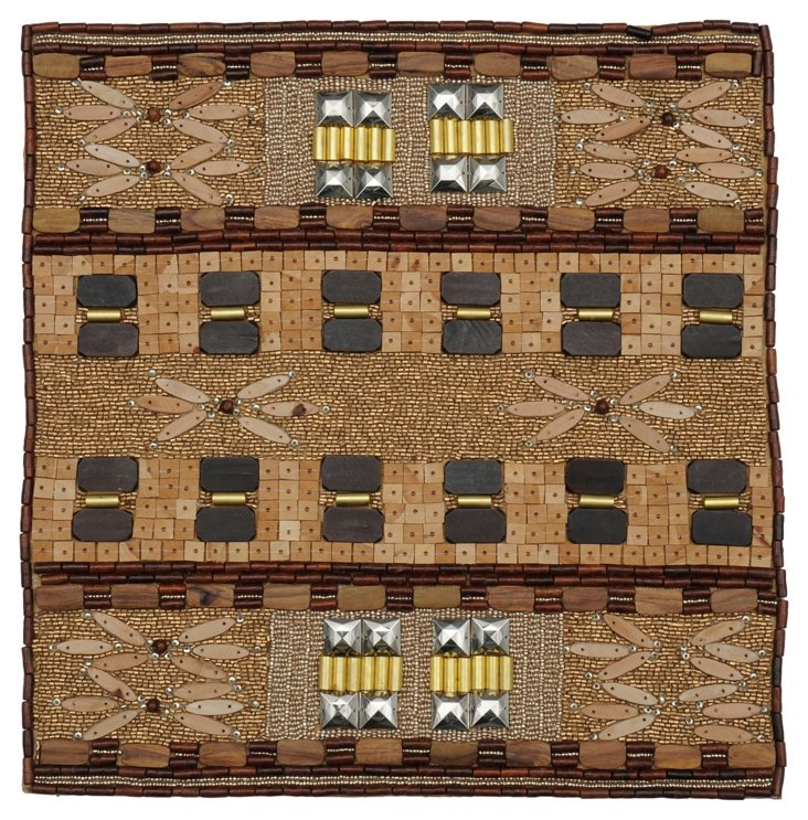S/4 Mombasa Place Mats, Brown/Gold