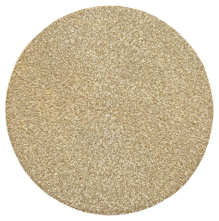 S/4 Metal Bead Round Place Mat, Gold