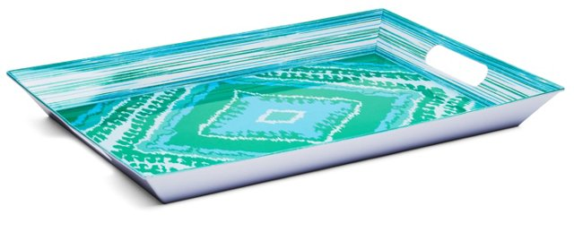 20x14 Turquoise Ikat Tray