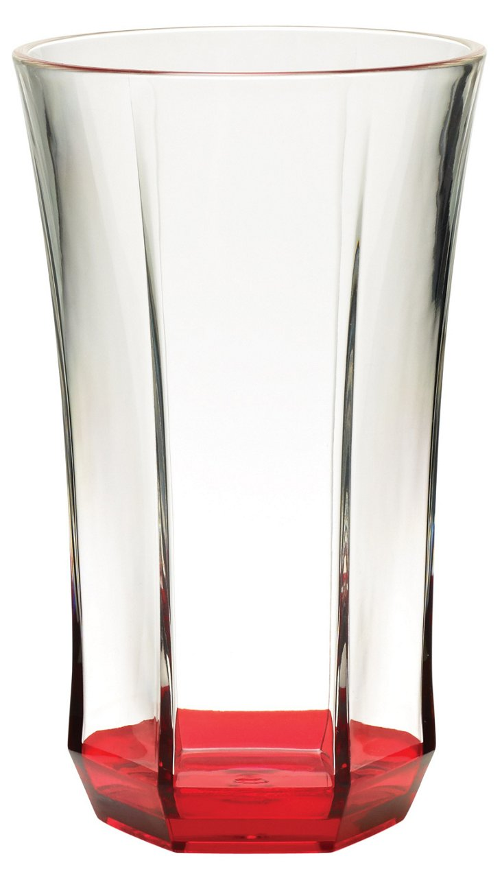 S/4 Acrylic Faceted Tumblers, Red