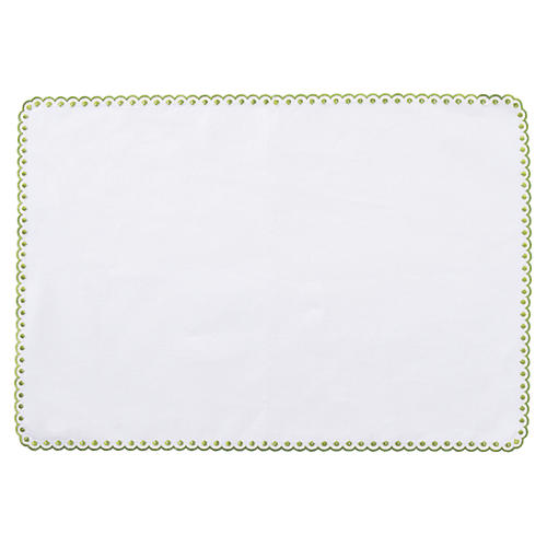 Scallop Dot Place Mat, White/Green