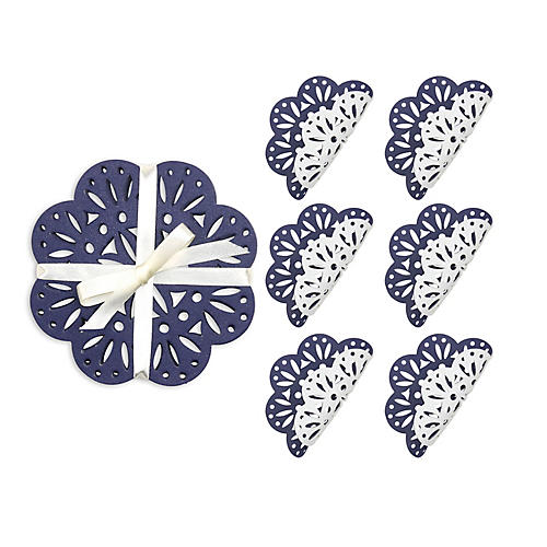 S/6 Fête Coasters, White/Navy