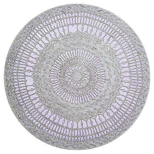 S/4 Stencil Place Mats, Gray/Lilac