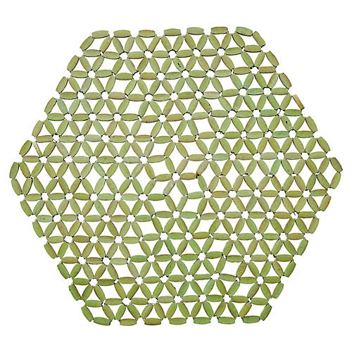 S/4 Hexagon Bamboo Place Mats, Mint