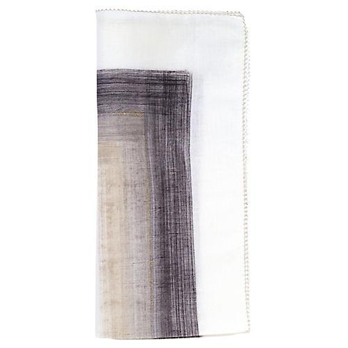 S/4 Brushstroke Dinner Napkins, White/Gray