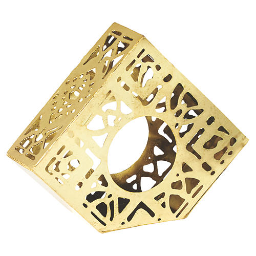 S/4 Distressed Napkin Rings, Gold