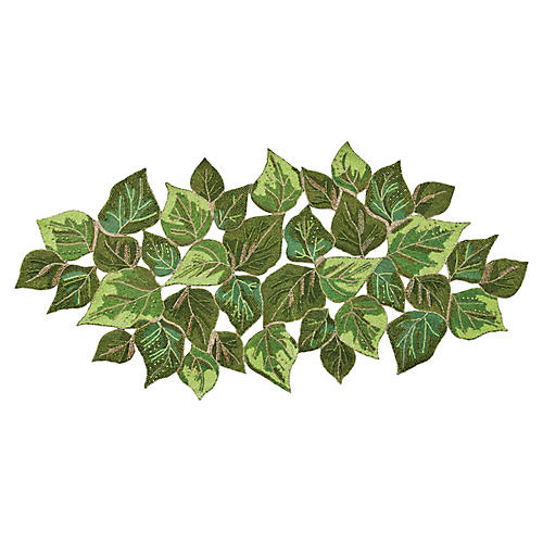Overlapped Leaves Table Runner, Green