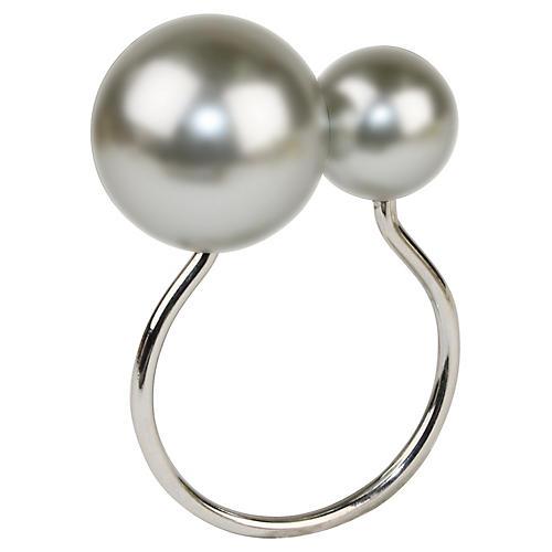 S/4 Pearl Napkin Rings, Gray/Silver