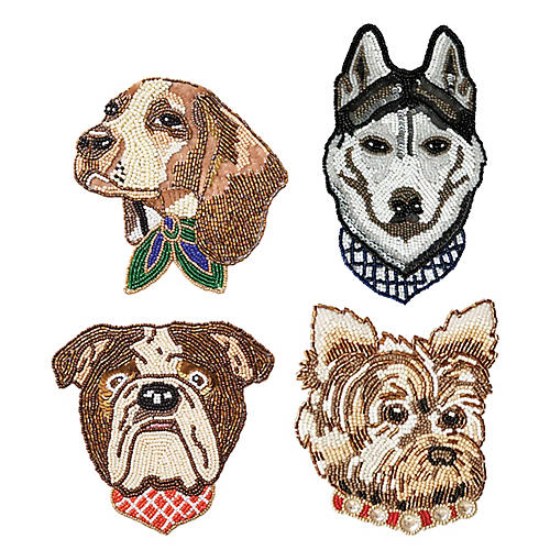 Asst. of 4 Woof Coasters, Brown/Multi