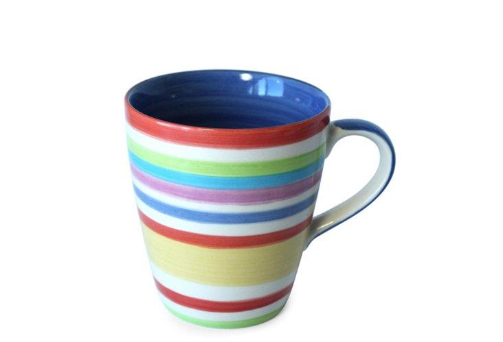 S/6 Blue Stripes Mugs