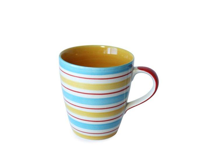 S/6 Yellow Stripes Mugs