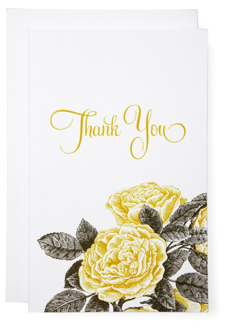 S/6 Yellow Roses Thank You Cards