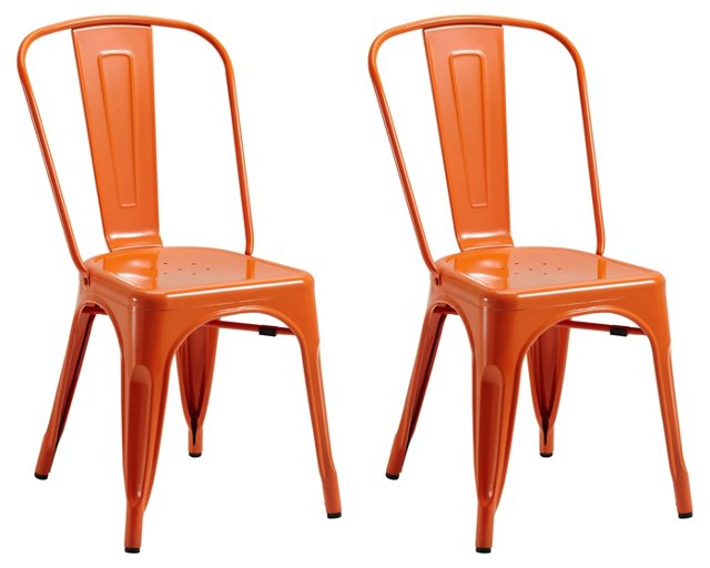 Orange Liv Metal Chairs, Pair