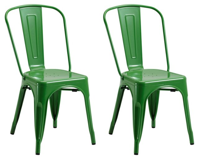 Green Liv Metal Chairs, Pair