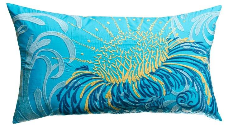 Water Blossom 15x27 Cotton Pillow, Blue