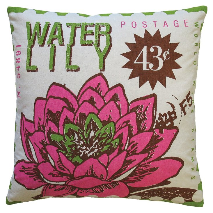 Water Lily 20x20 Cotton Pillow, Multi