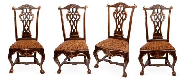 18th-C. Leopard Chairs, Set of 4