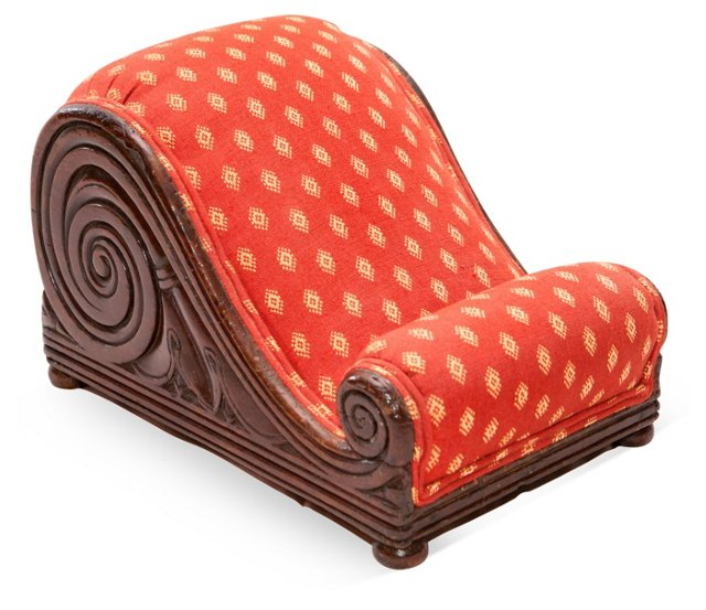 19th-C. Mahogany Scroll Footstool